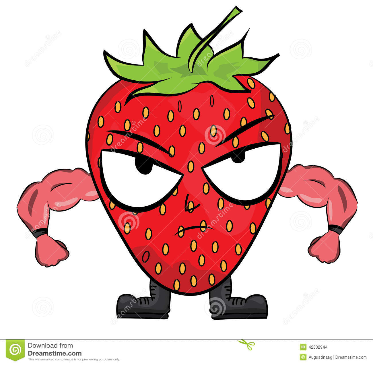 Strawberry Cartoon Character Stock Illustration Image