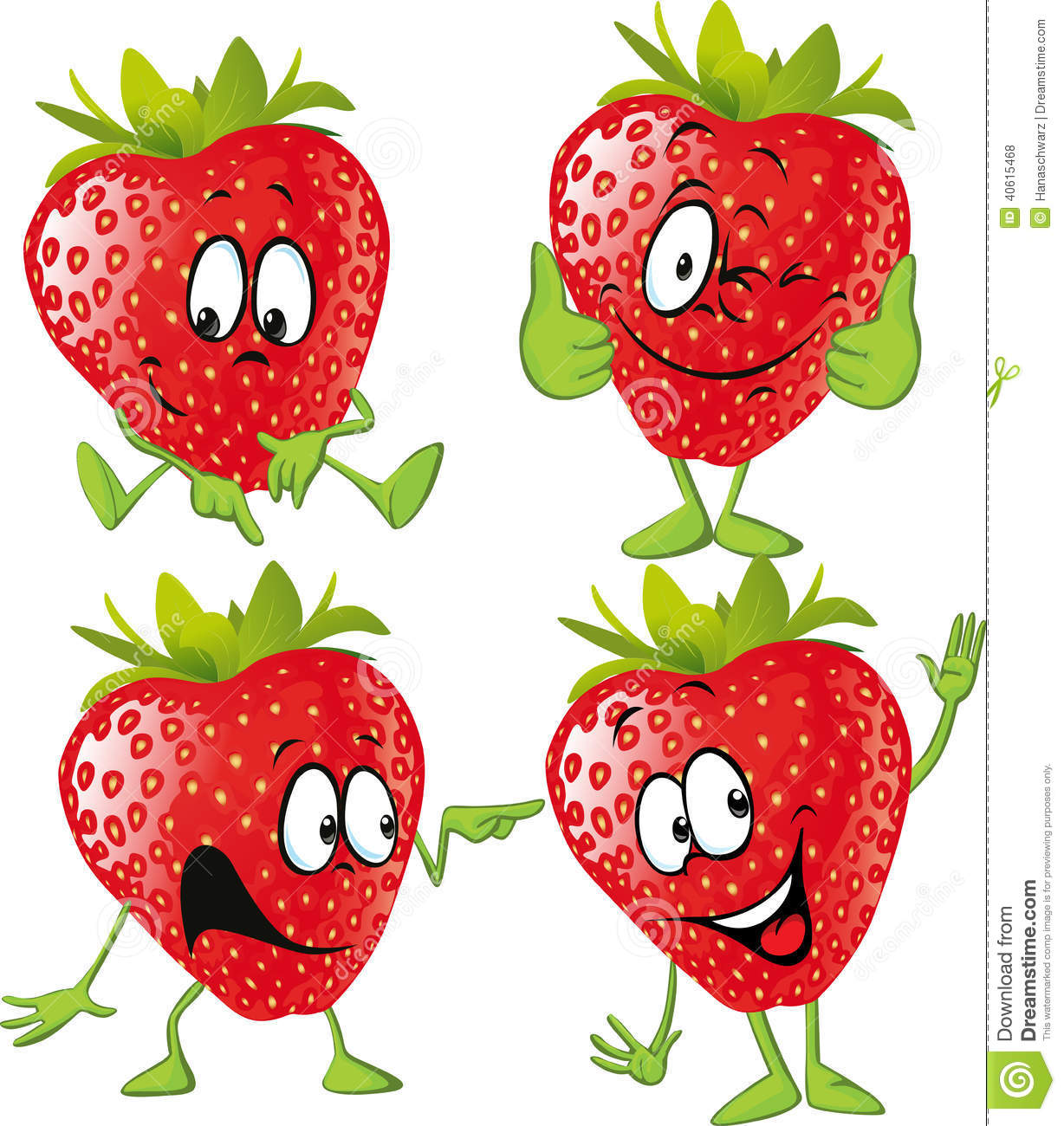 Strawberry Cartoon With Hands Isolated Stock Vector