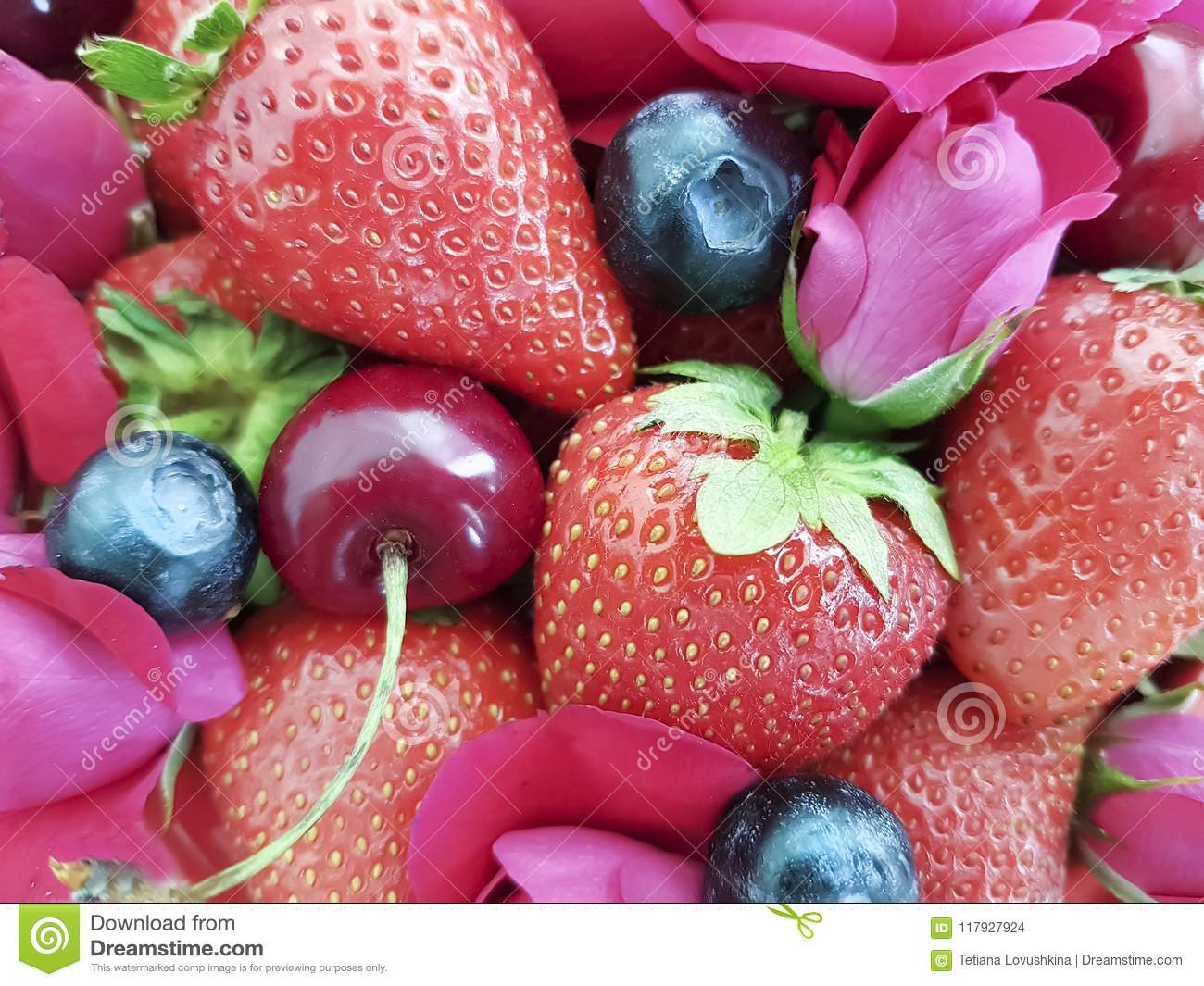 strawberry cherry, blueberry dessert refreshment rose flower background