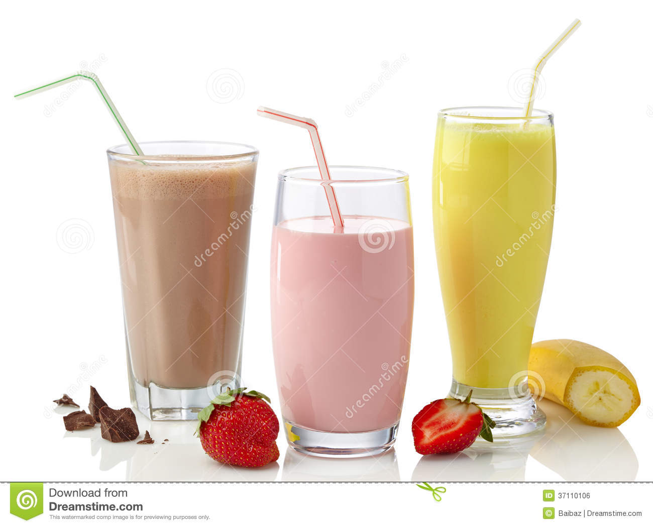 Strawberry, Chocolate And Banana Milkshakes Royalty Free ...