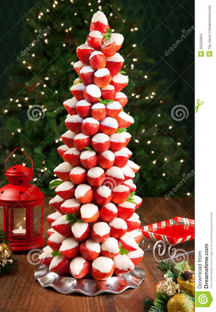 Strawberry Christmas Tree Stock Photo Image Of Cake