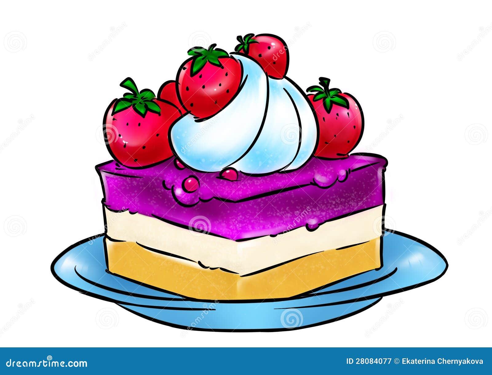 Strawberry Cream Cake Illustration Royalty Free Stock ...