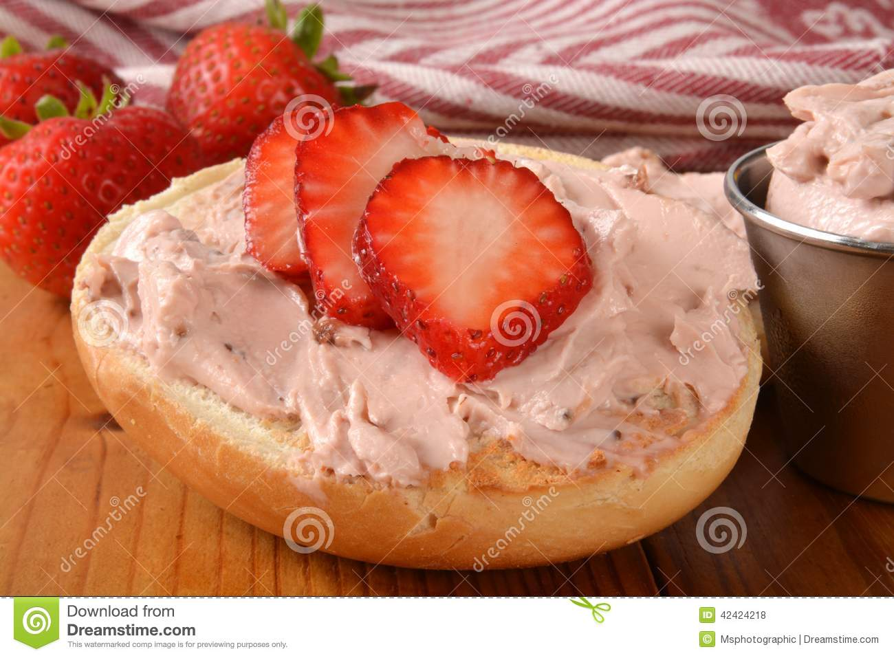 strawberry cream cheese on a bagel closeup stock photo image of rh dreamstime com Bagel Cartoon Clip Art Cream Cheese and Bagel Clip Art