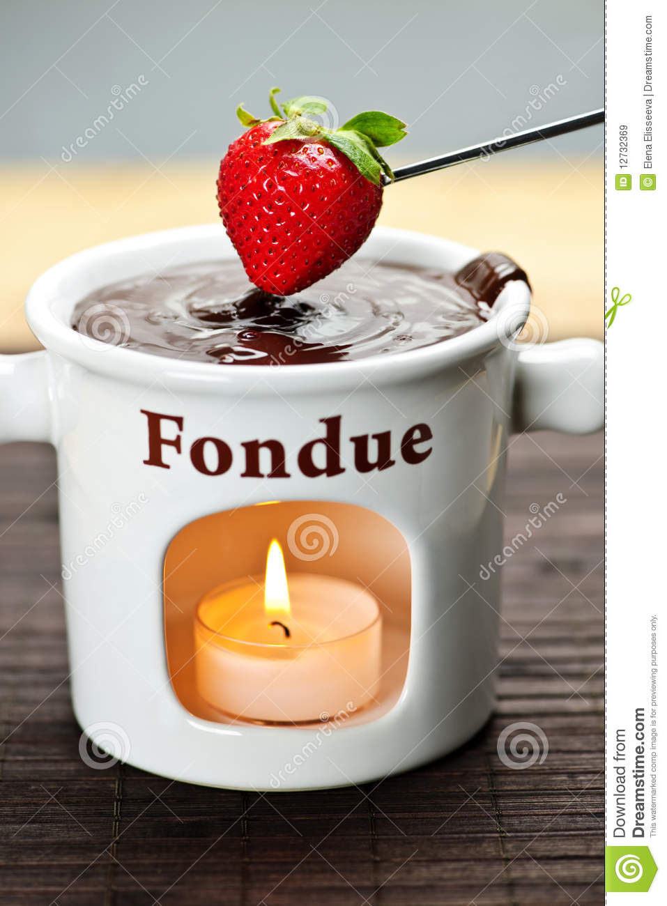 Strawberry Dipped In Chocolate Fondue Stock Image Image