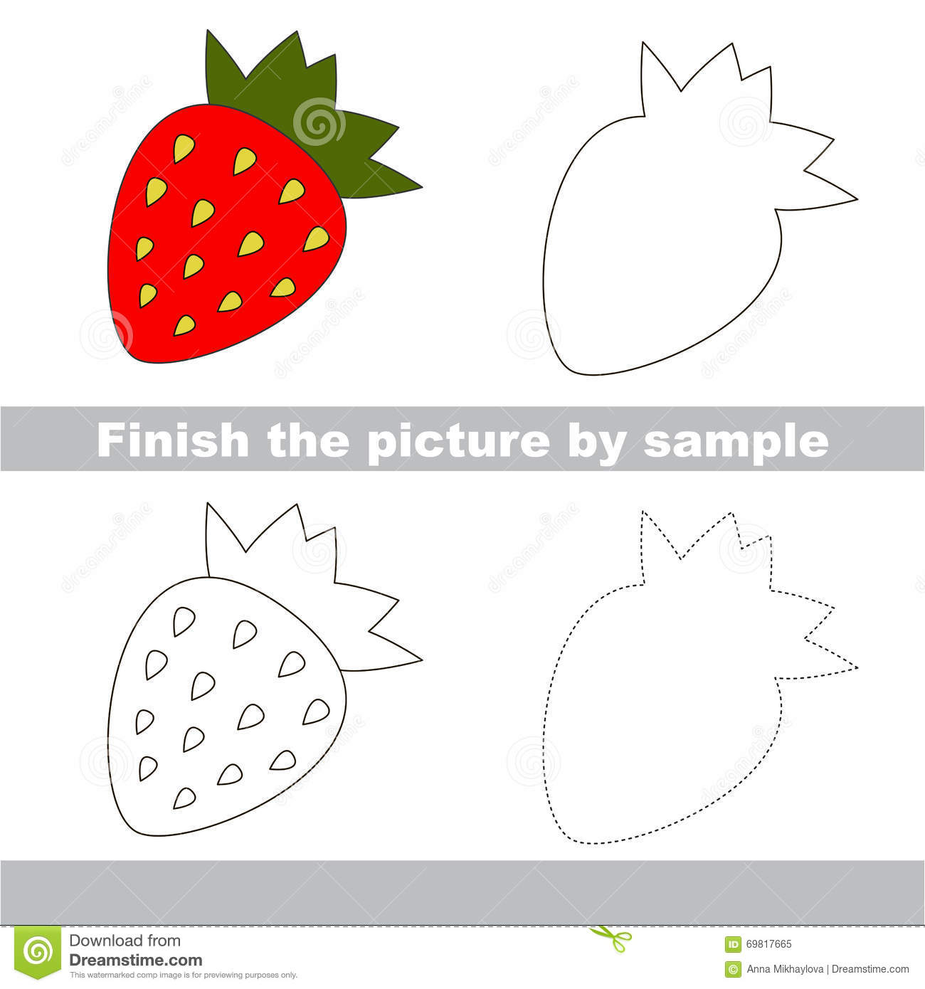 Strawberry. Drawing Worksheet. Stock Vector - Image: 69817665