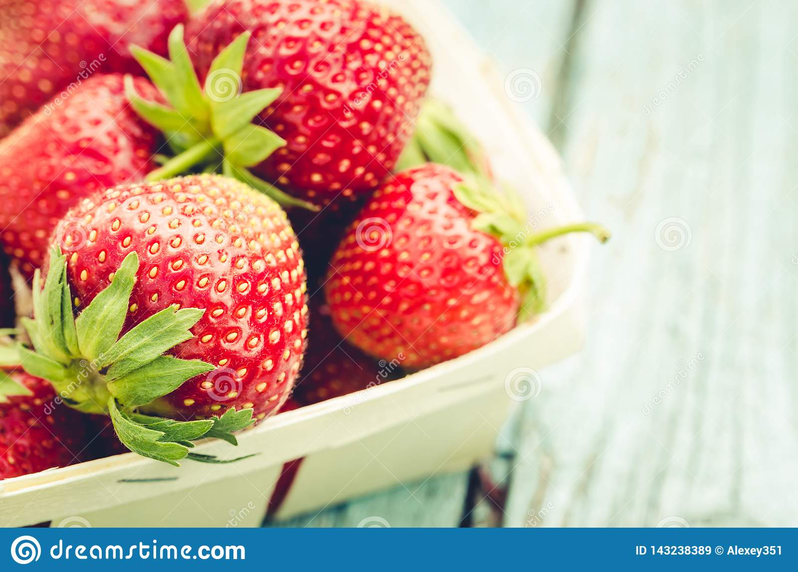 Strawberry. fresh berries of strawberry/Top view. Strawberry in small basket, copy space