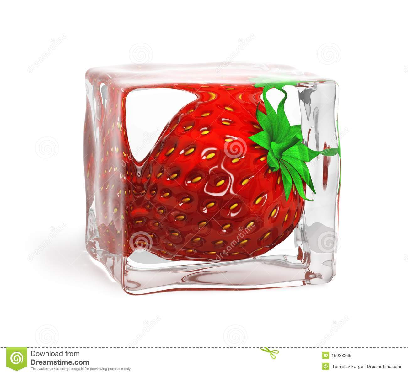 Strawberry Frozen In Ice Cube Royalty Free Stock Photo - Image ...