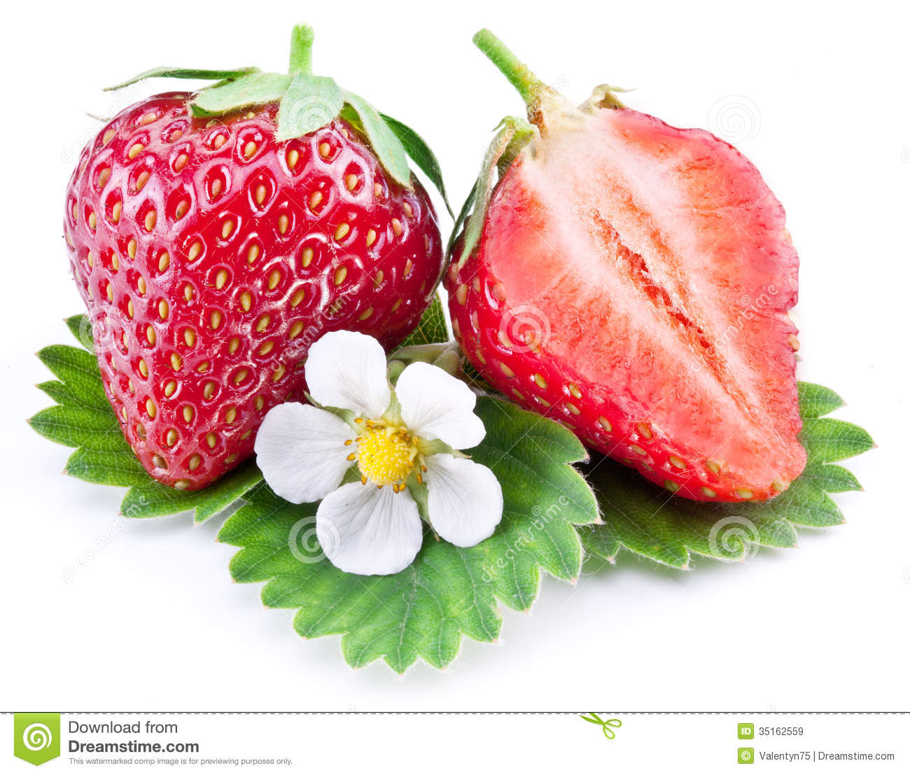 Attractive Royalty Free Stock Photo. Download Strawberry Fruit With Slice And Flower.