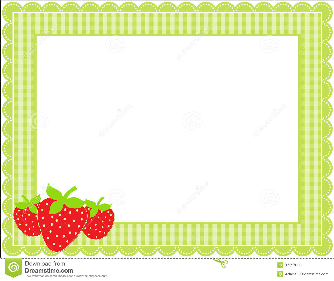 Strawberry Gingham Frame Stock Vector Illustration Of