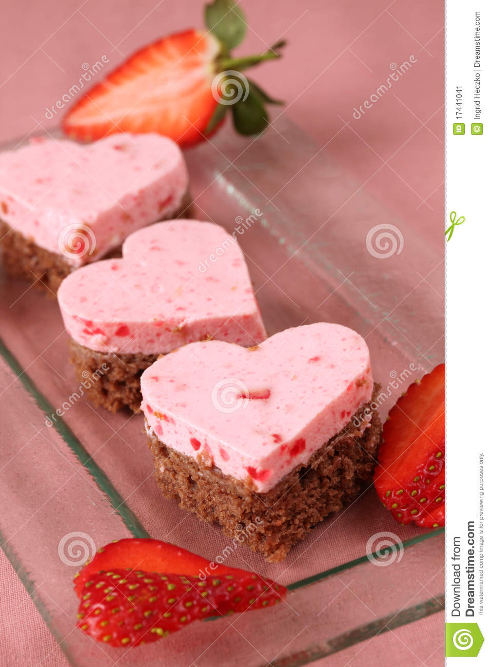 Download Strawberry heart cakes stock image. Image of heart, refreshing - 17441041
