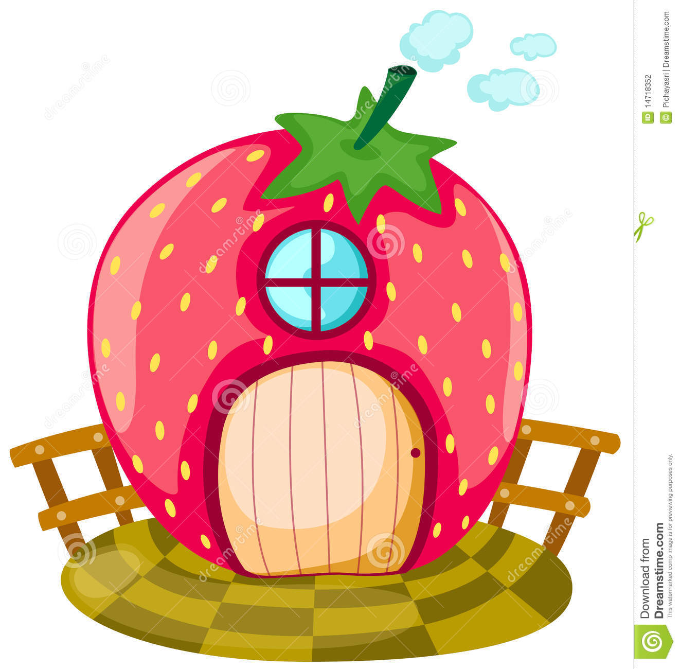 Strawberry House Stock Vector Image Of Drawing