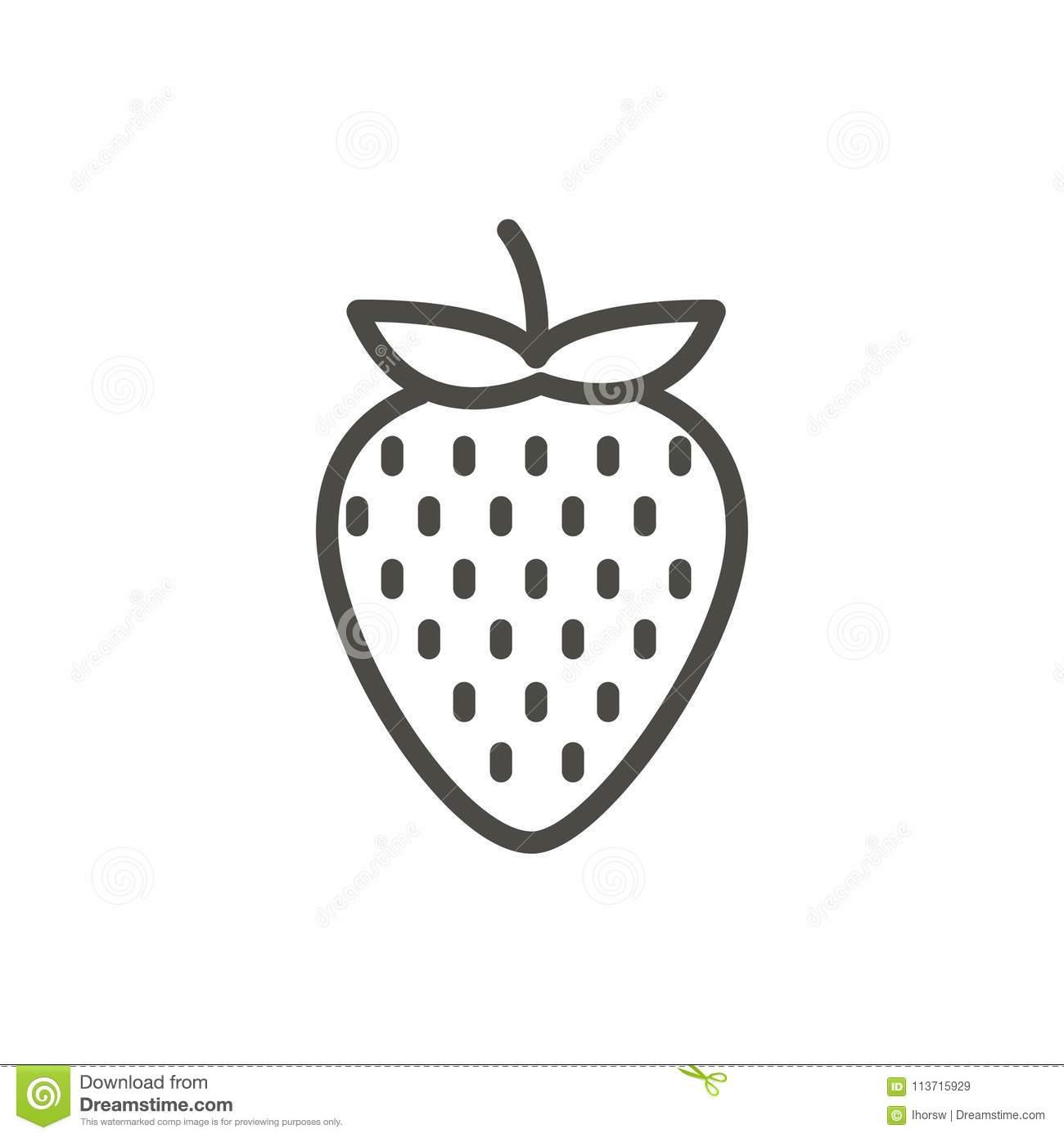 Strawberry Icon Vector. Outline Fruit , Line Strawberry ...