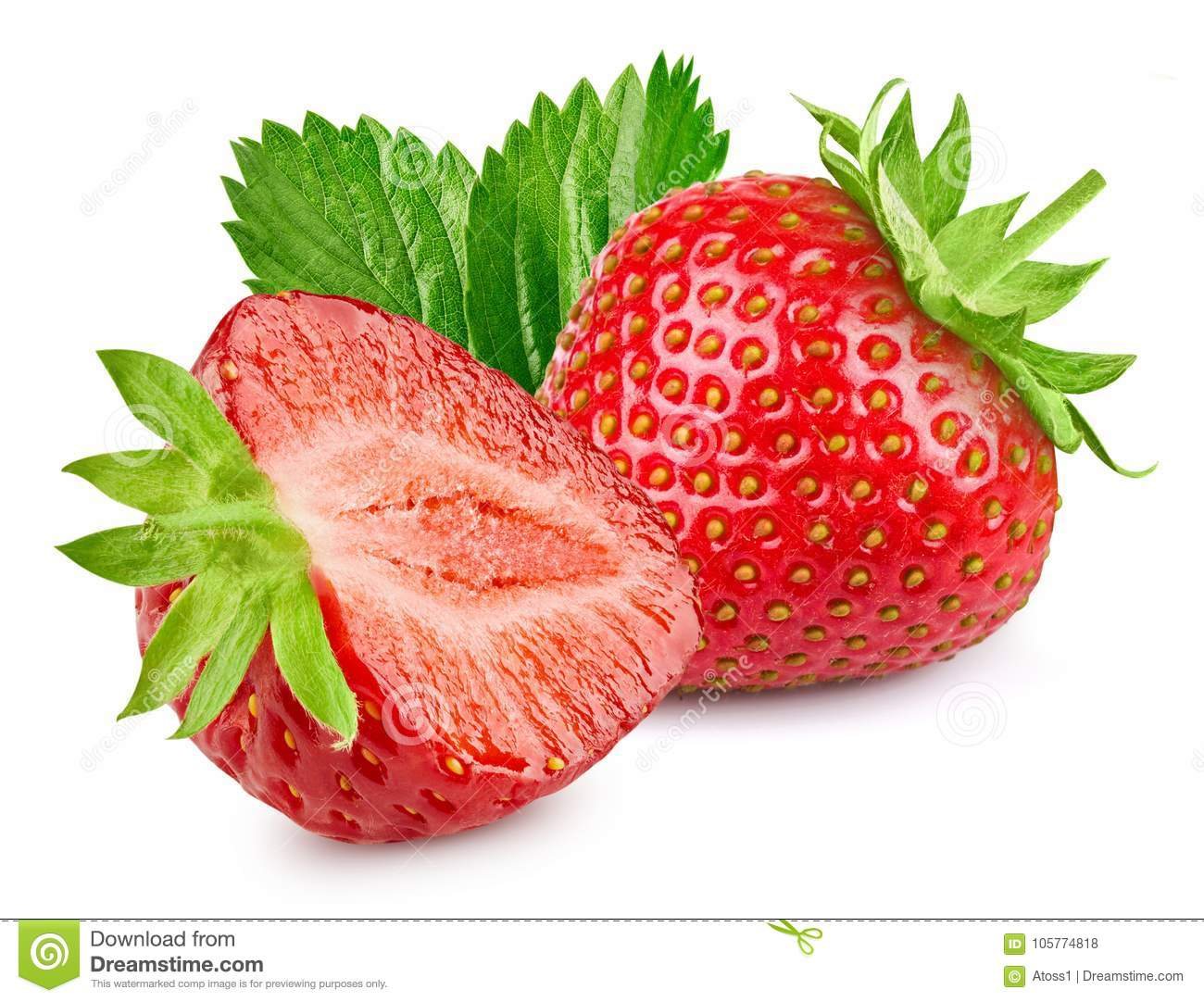 Strawberry Isolated White Stock Image of three part