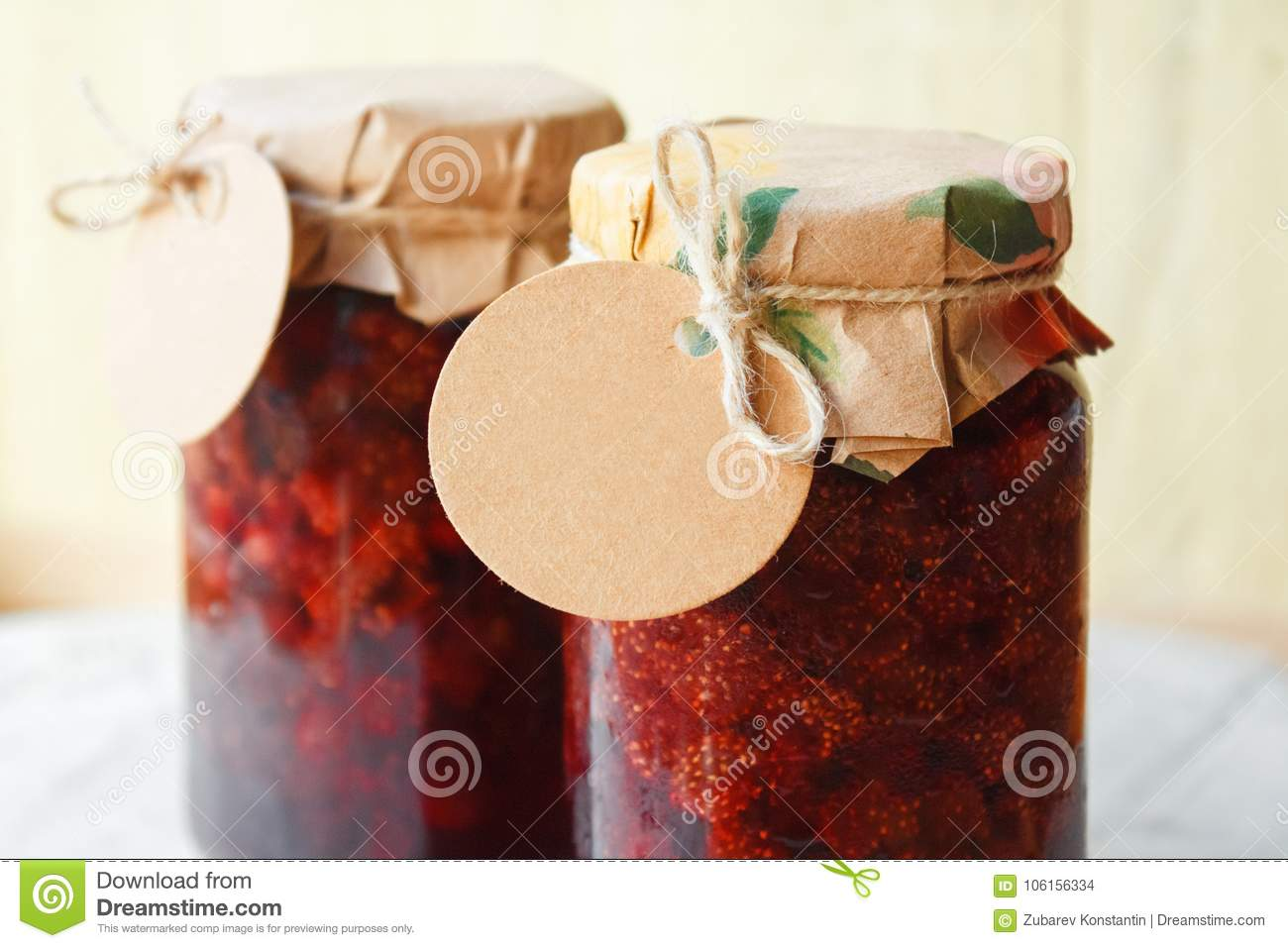 Strawberry jam with a blank label