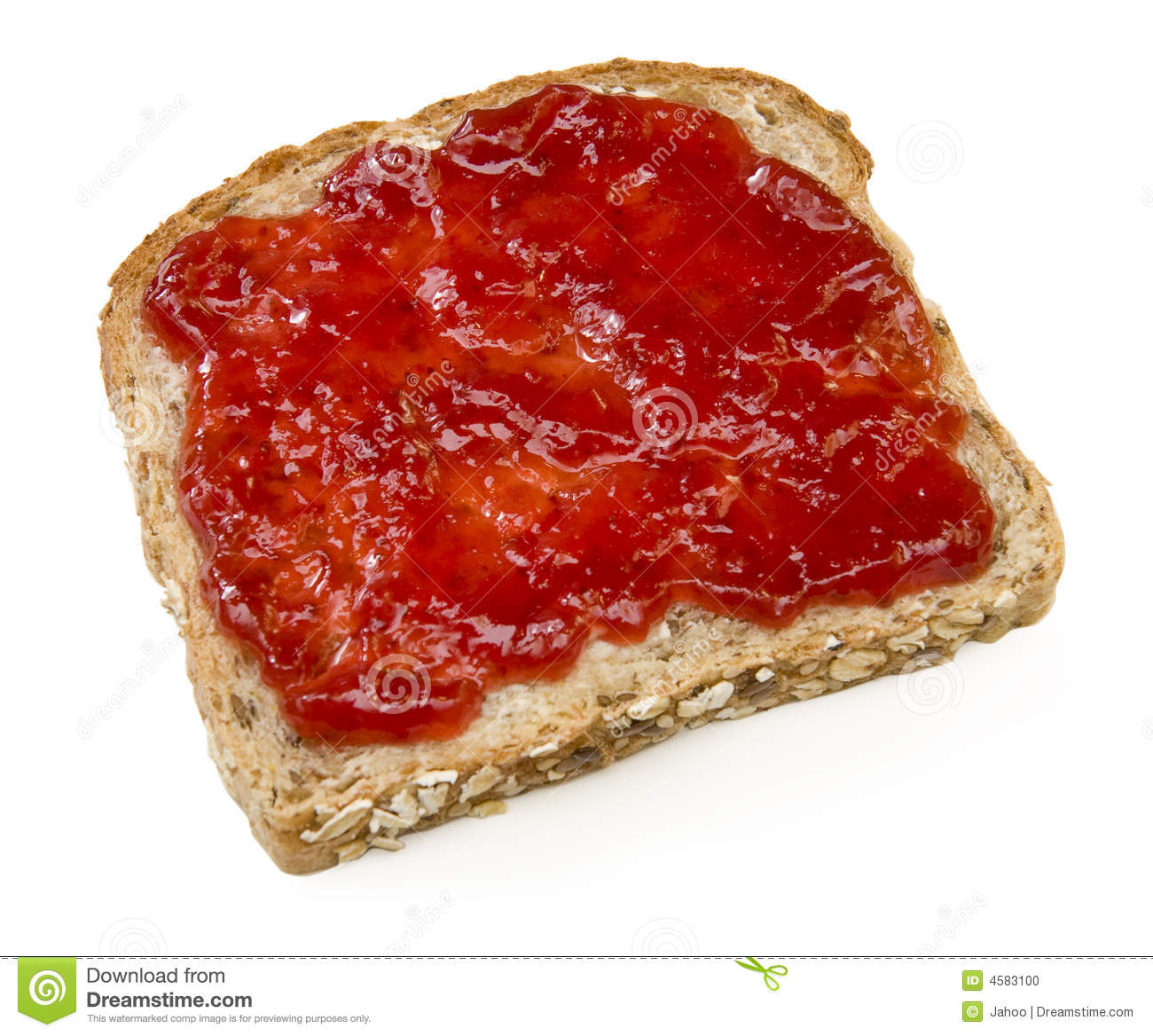 Strawberry Jam Sandwich Isolated On White Stock Photo - Image: 4583100