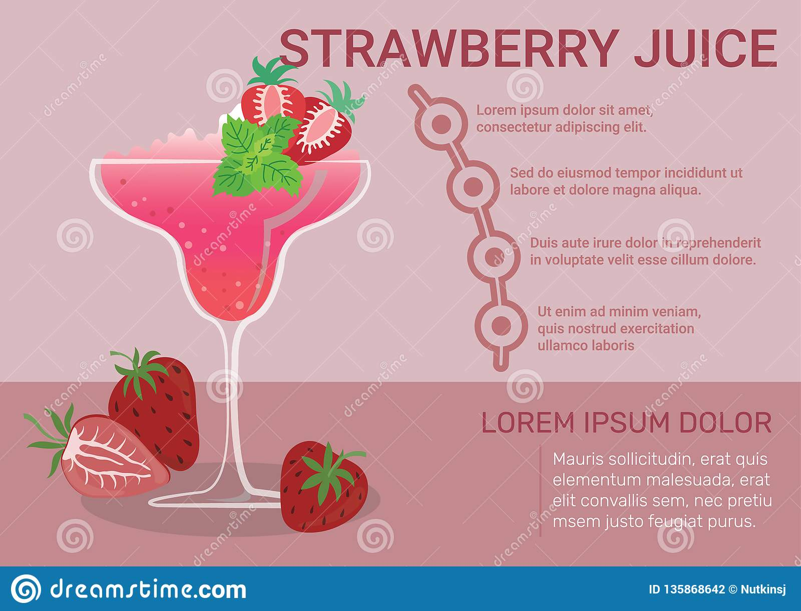 strawberry juice infographic stock vector - illustration of