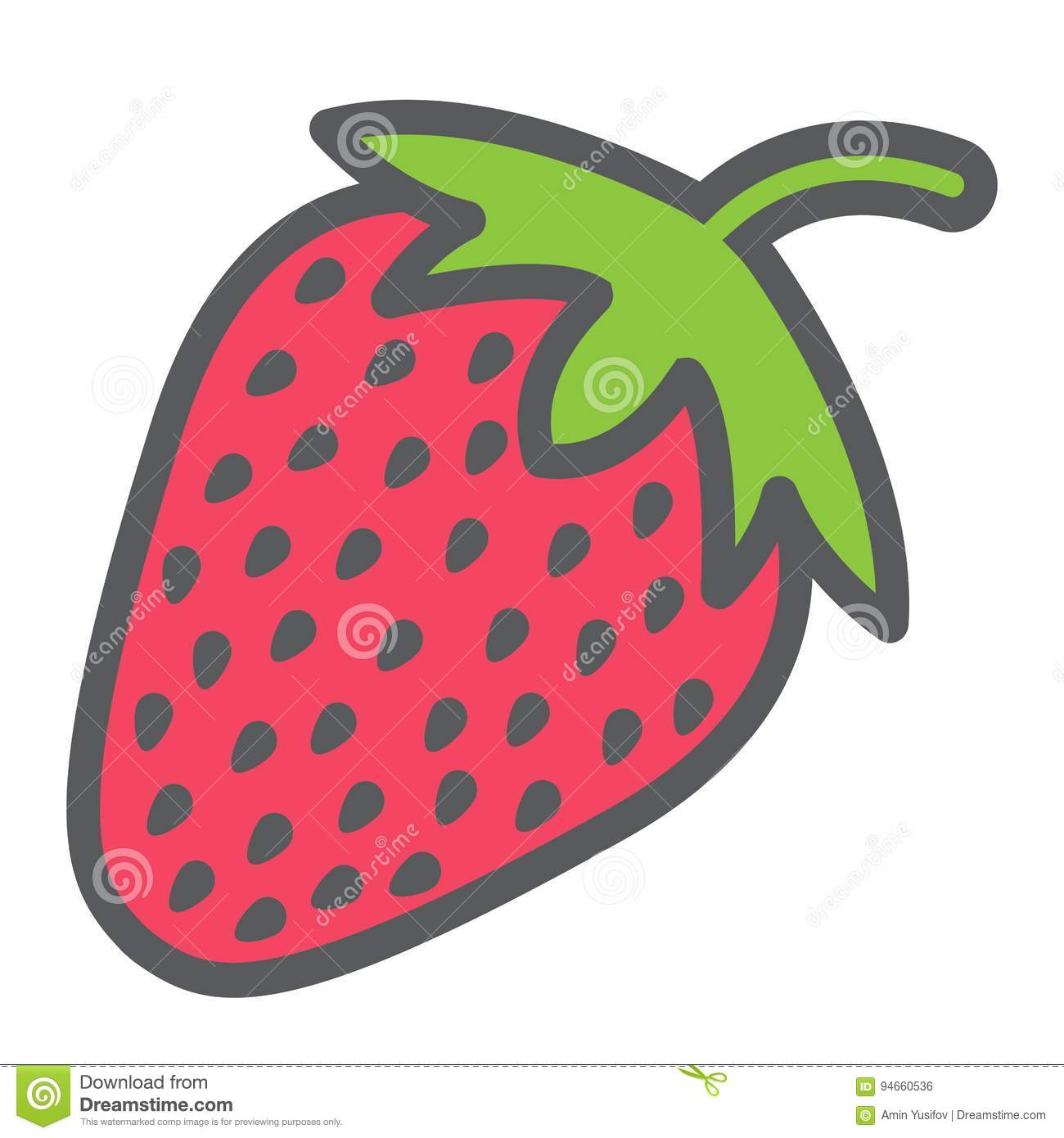 Strawberry line icon, fruit and diet