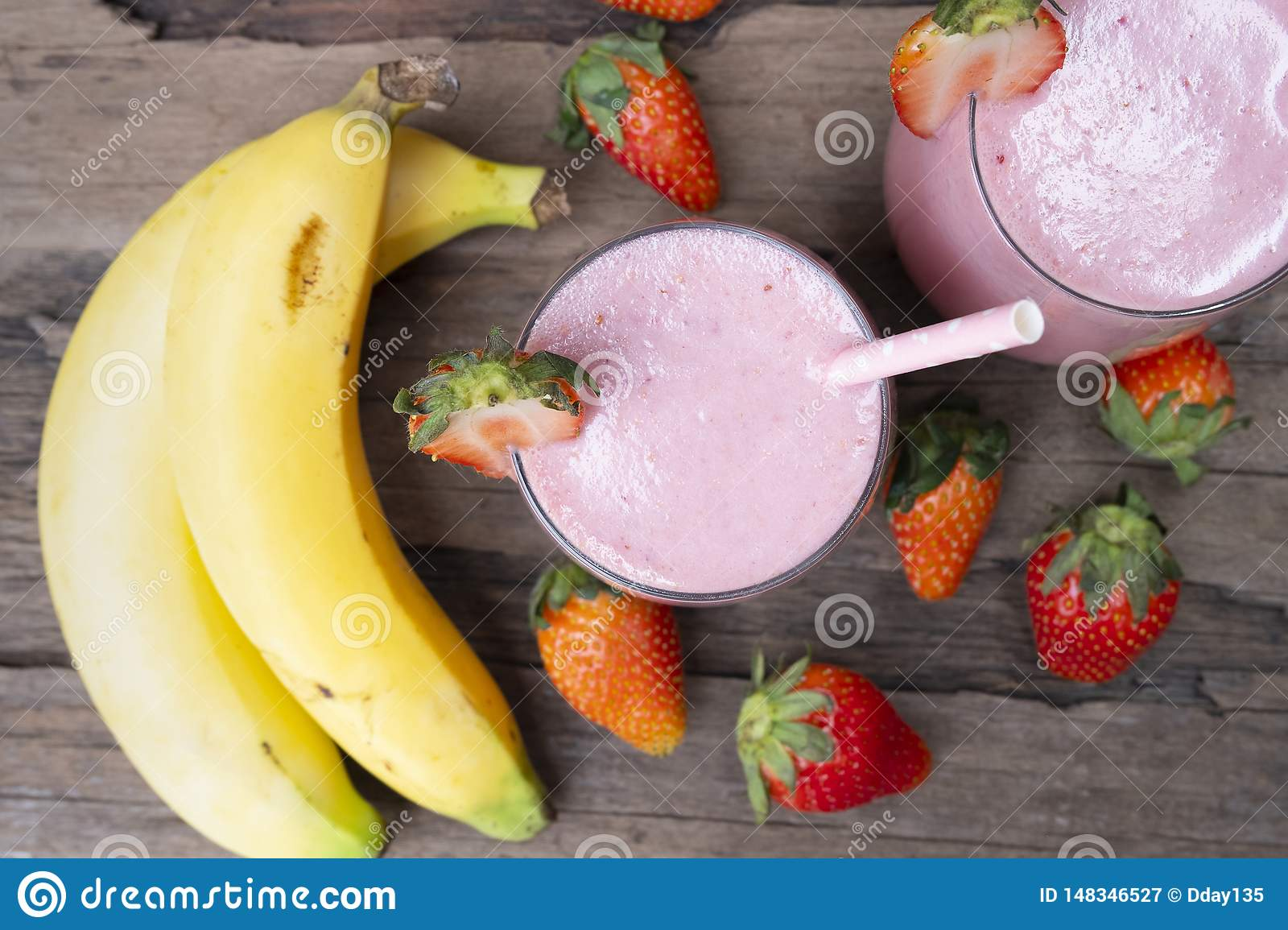 Strawberry Mix Banana Smoothies Red Colorful Fruit Juice