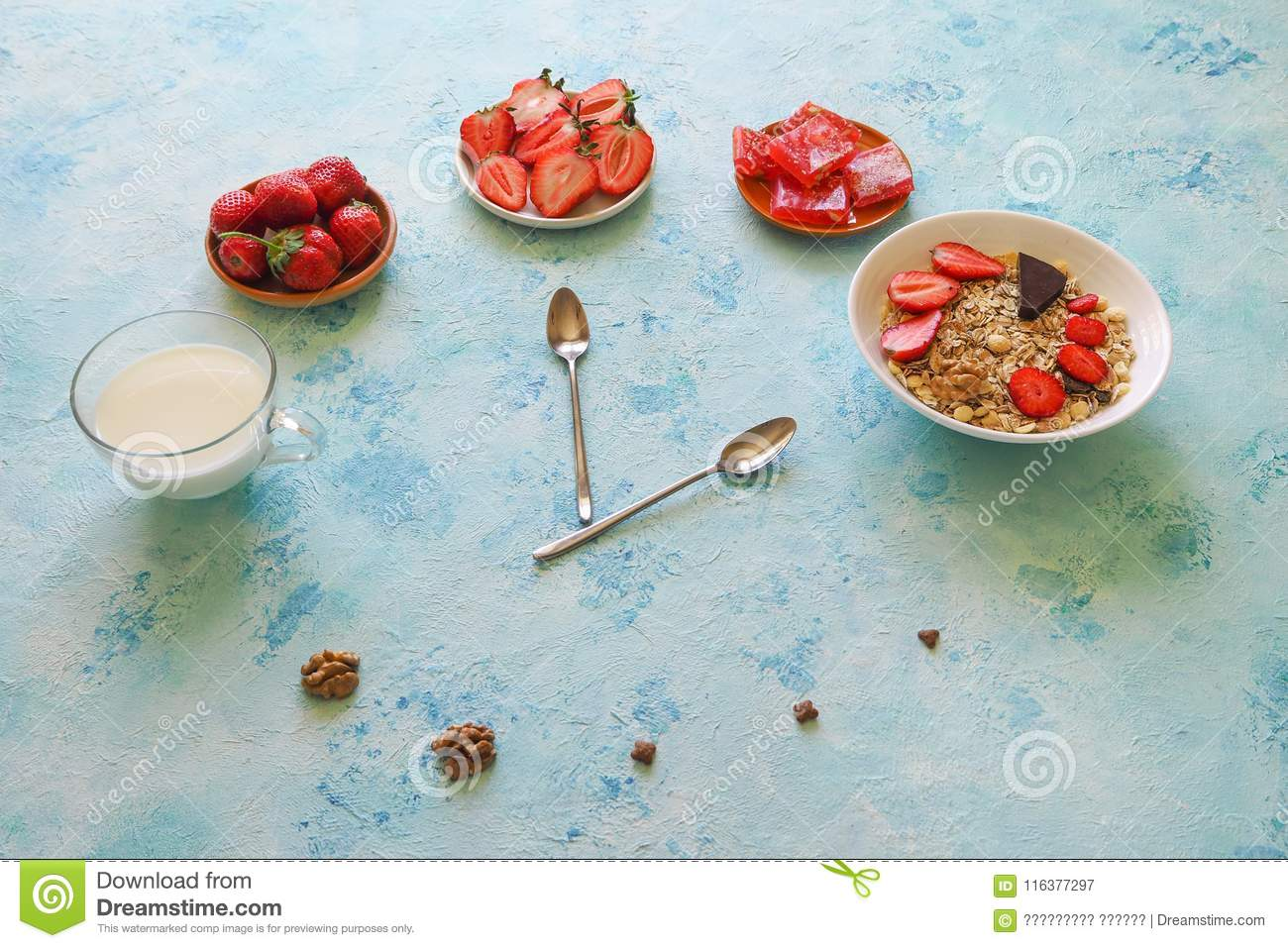 Strawberry, Muesli, Milk And Turkish Delight On A Turquoise Table ...