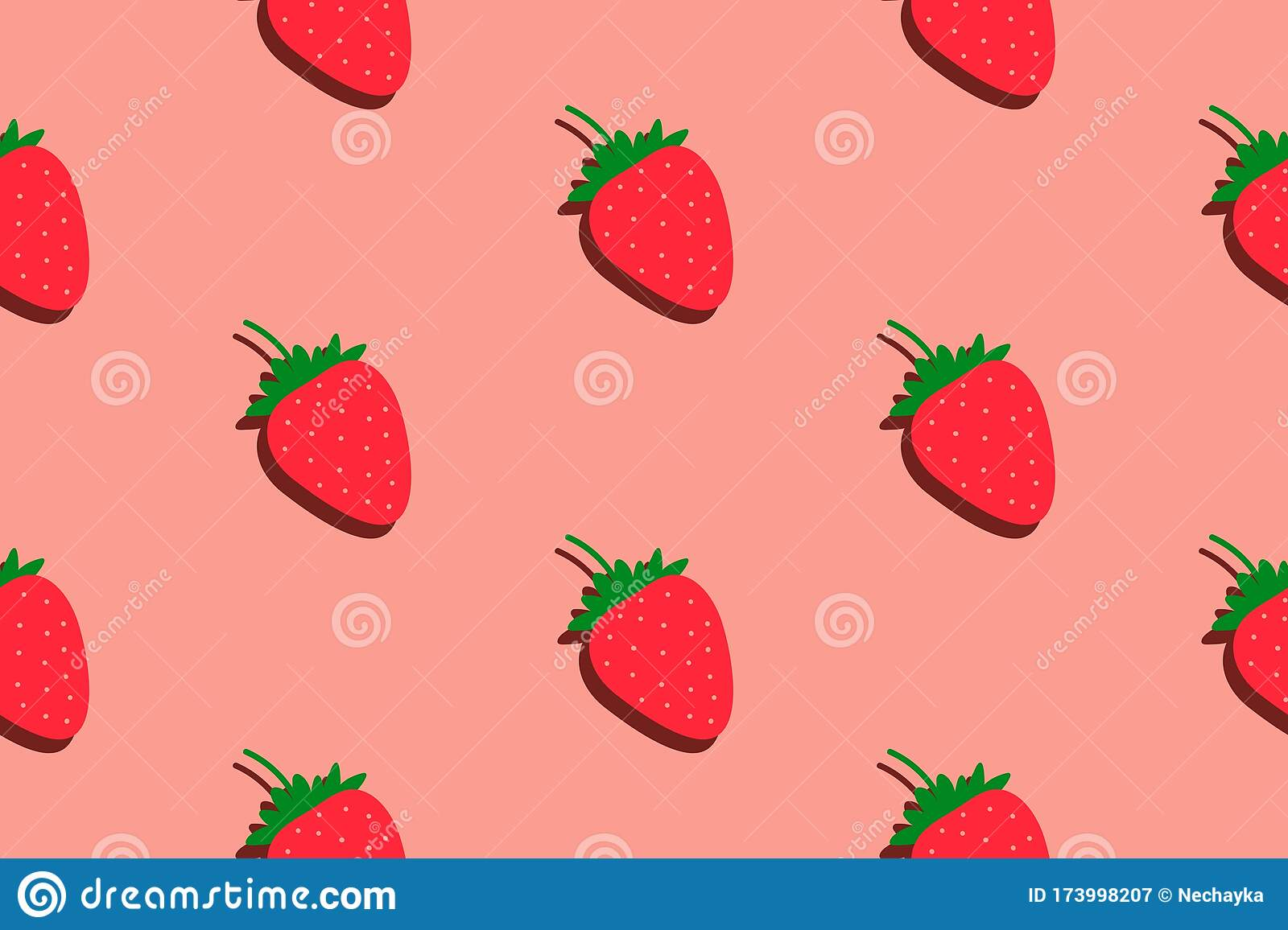 Strawberry Pattern Seamless Summer Background Bright Kitchen Home Decor Or Healthy Eating Design With Cute Berry Stock Vector Illustration Of 173998207