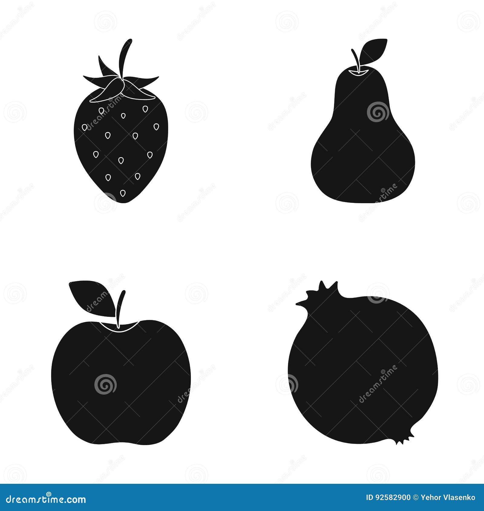 Strawberry pear apple pomegranateuits set collection icons strawberry pear apple pomegranateuits set collection icons in black style vector symbol stock illustration web buycottarizona