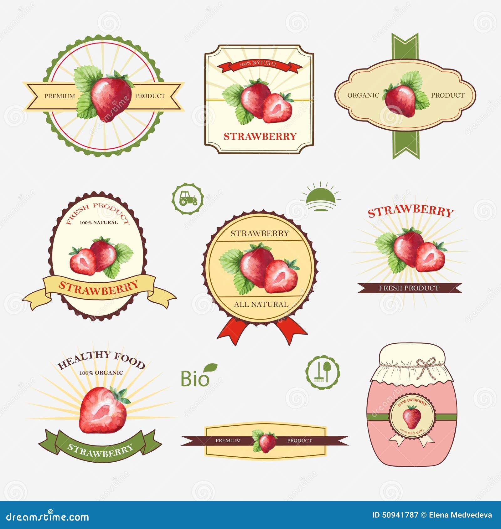 strawberry set of label design stock vector illustration of