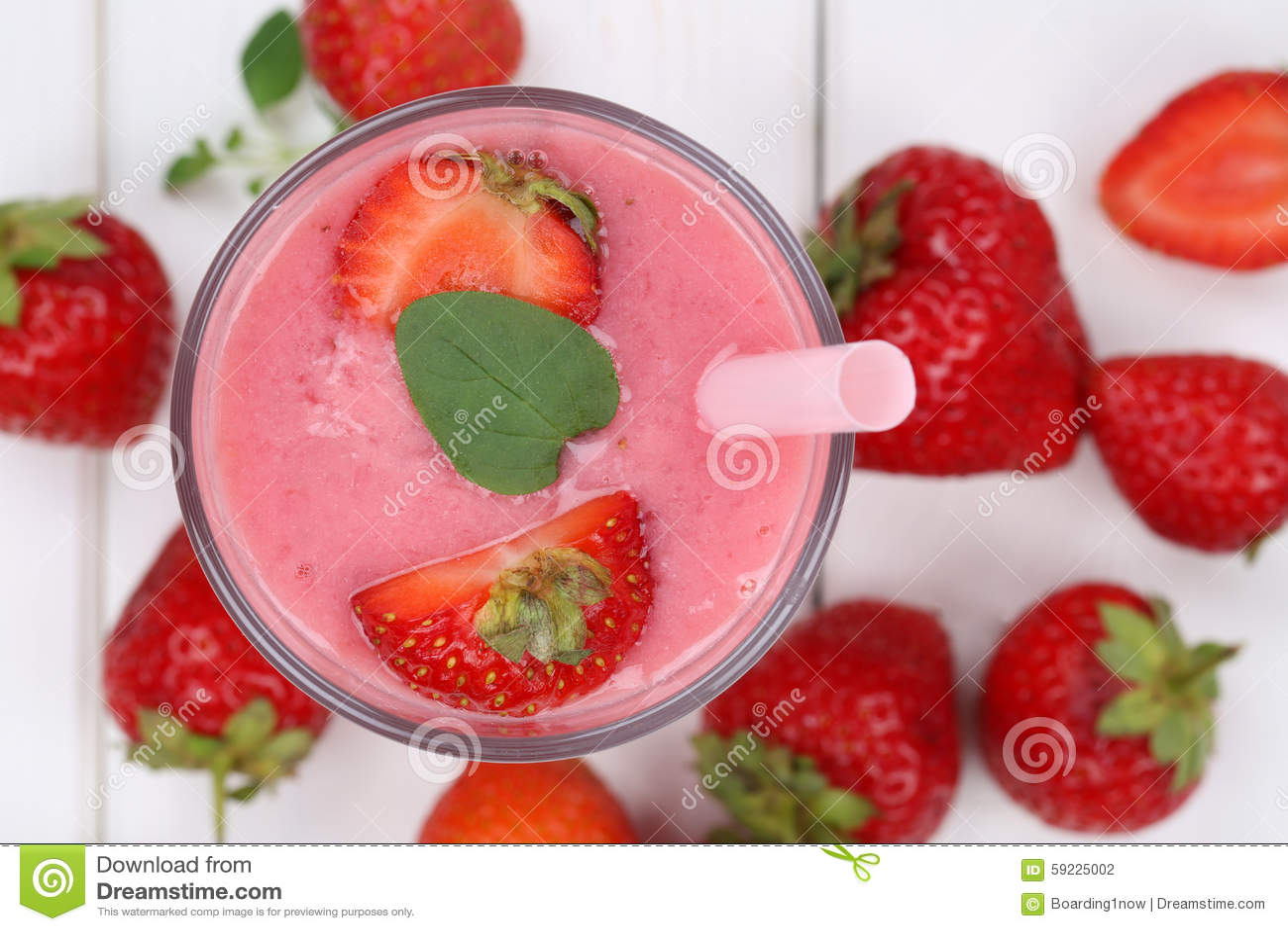 Strawberry smoothie fruit juice milkshake with strawberries frui