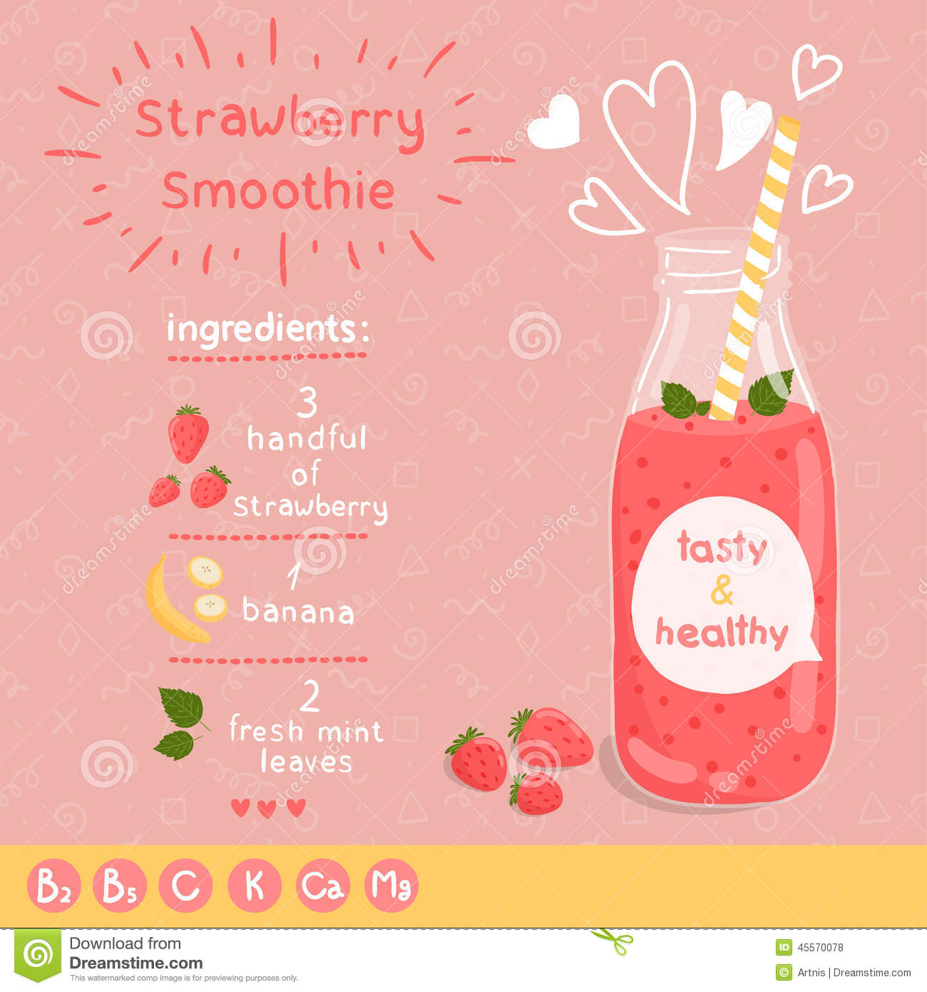 Strawberry smoothie recipe. With illustration of ingredients and ...