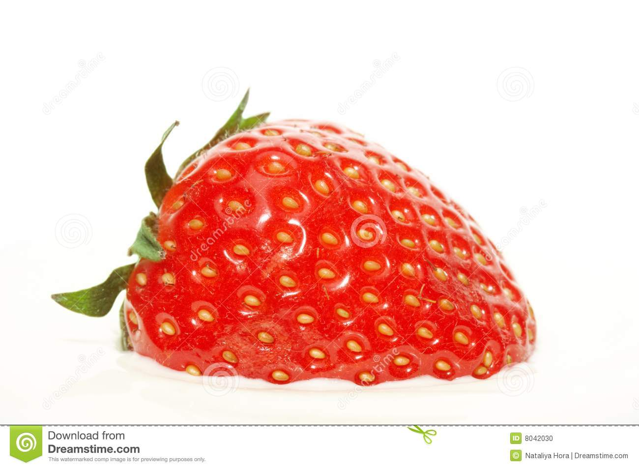 Download Strawberry in sour cream stock photo. Image of ingredient - 8042030