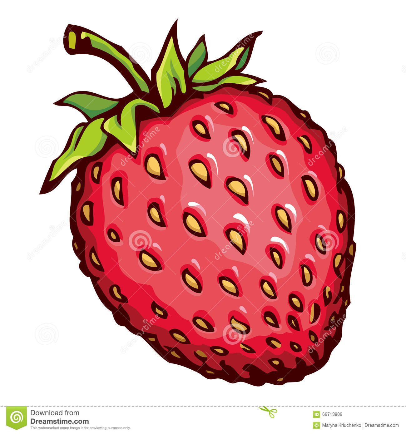Cute Strawberry Drawing Vector Stock