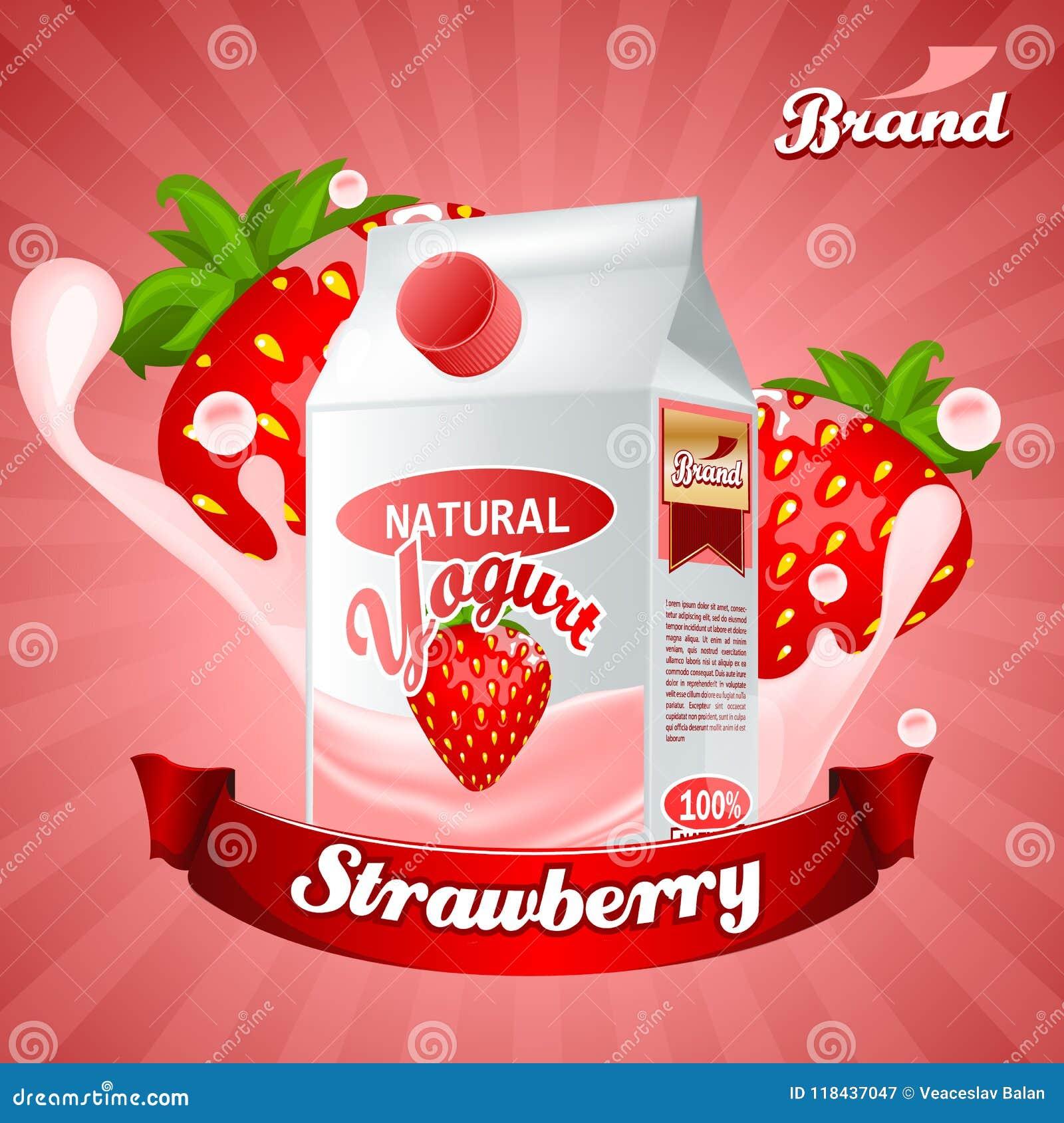 strawberry yogurt ads splashing scene with package and fruits