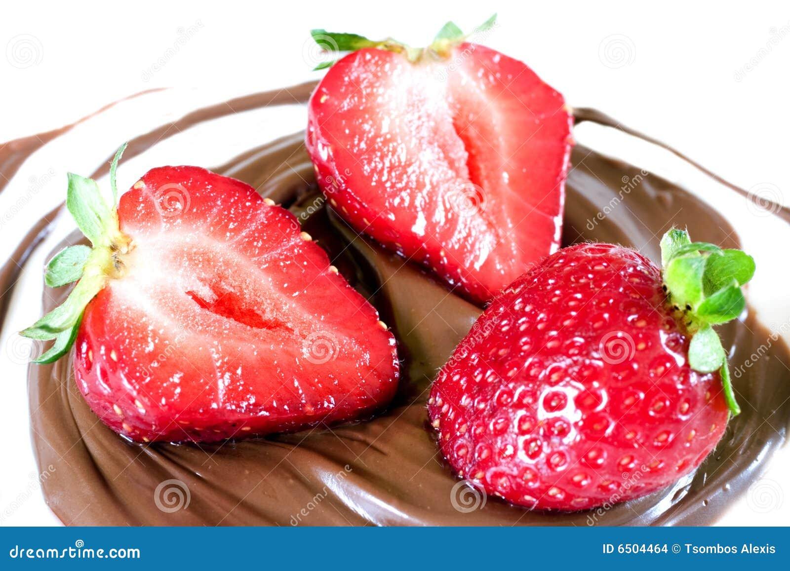 Strawberrys in chocoladespiraal
