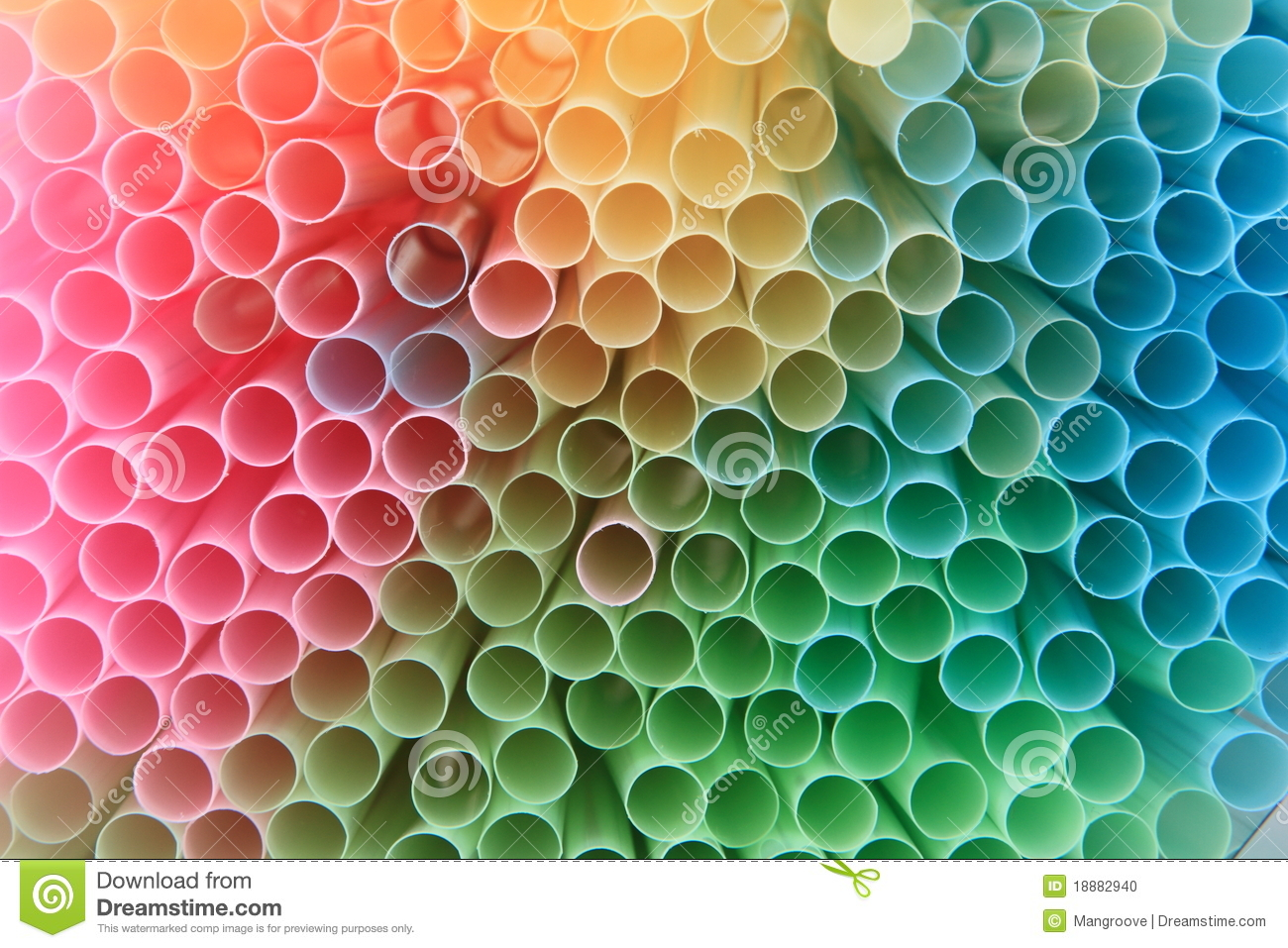 Straws background in rainbow colors