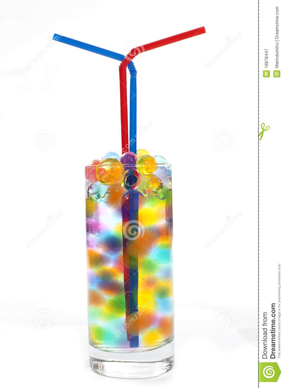 Straws in a glass of water stock illustration  Illustration