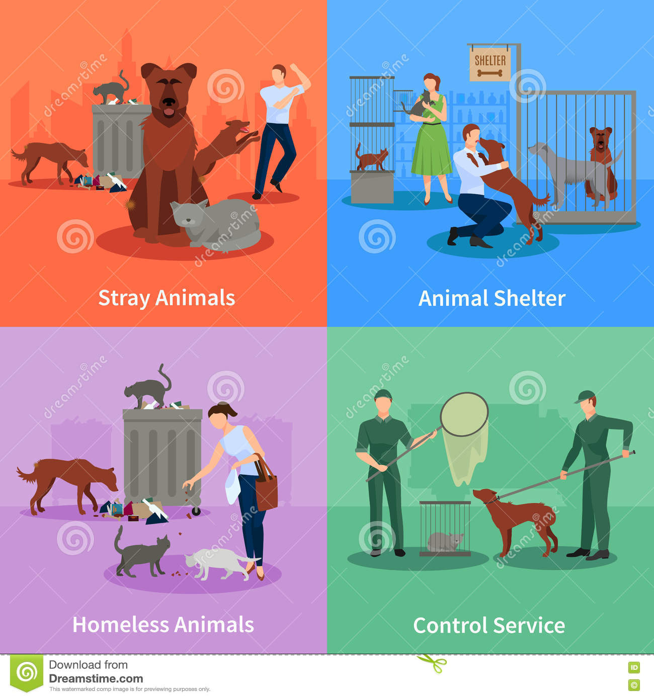 stray animals icons set stock vector   image 72051022