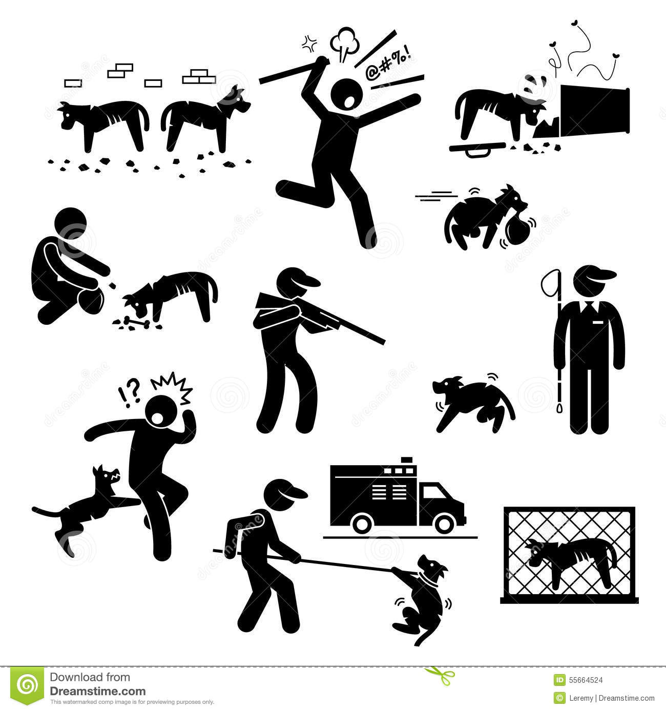 Stray Dog Problem Issue Clipart Stock Vector Image 55664524