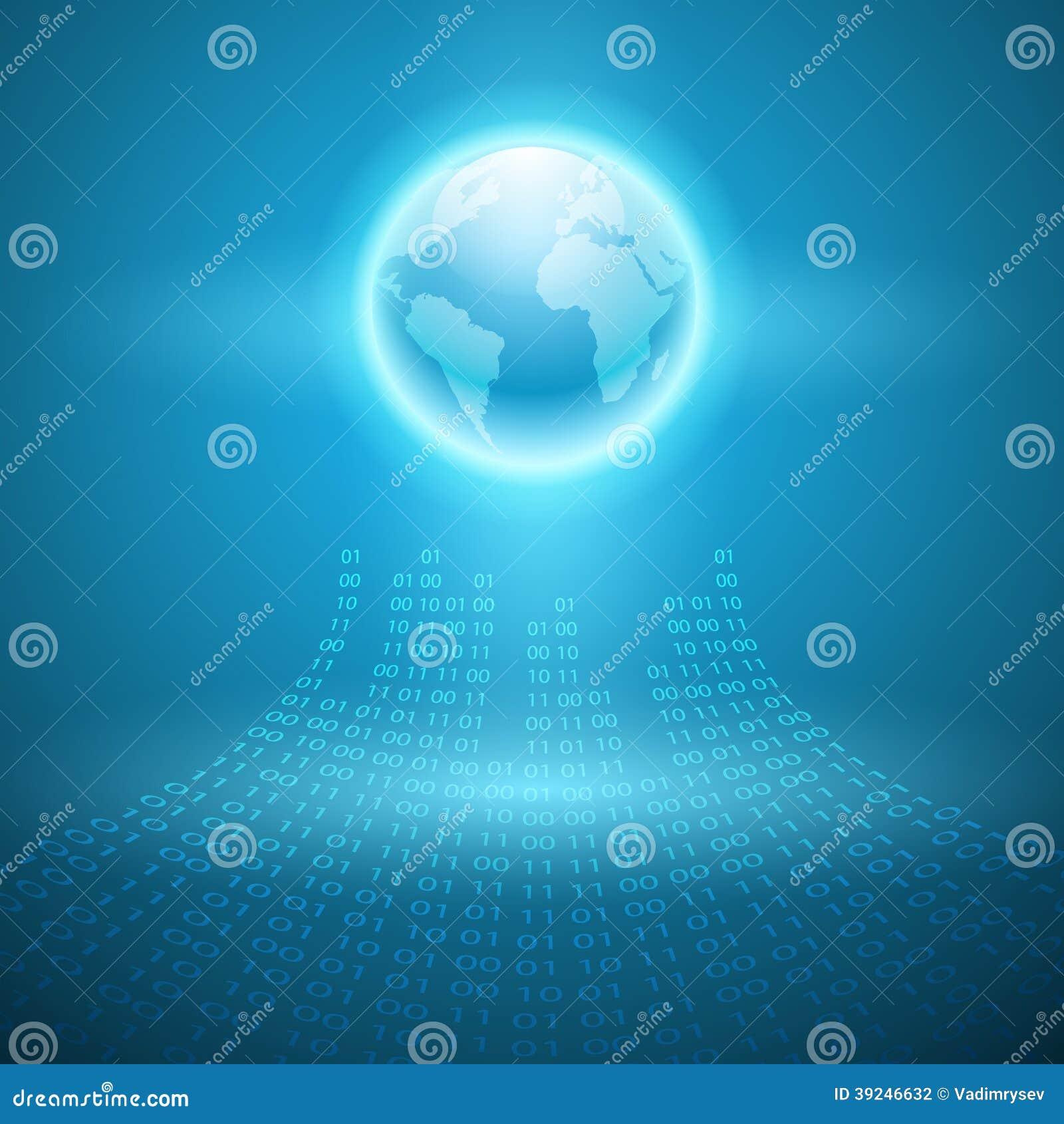 Stream of binary code to the globe.