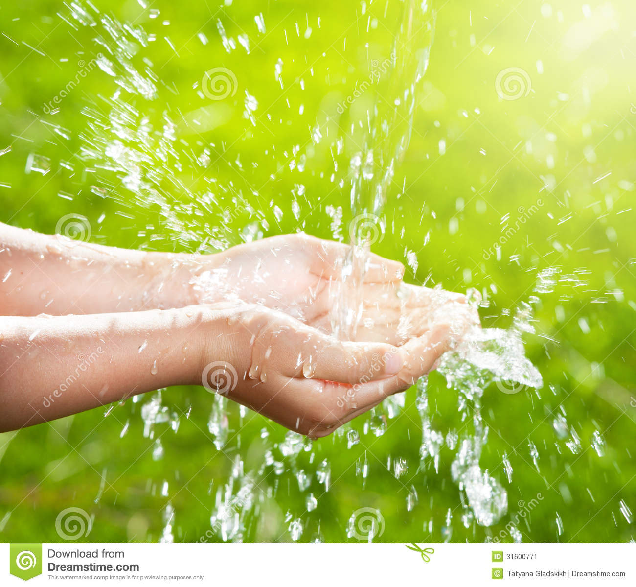 Stream Of Clean Water Pouring Into Children S Hands Stock