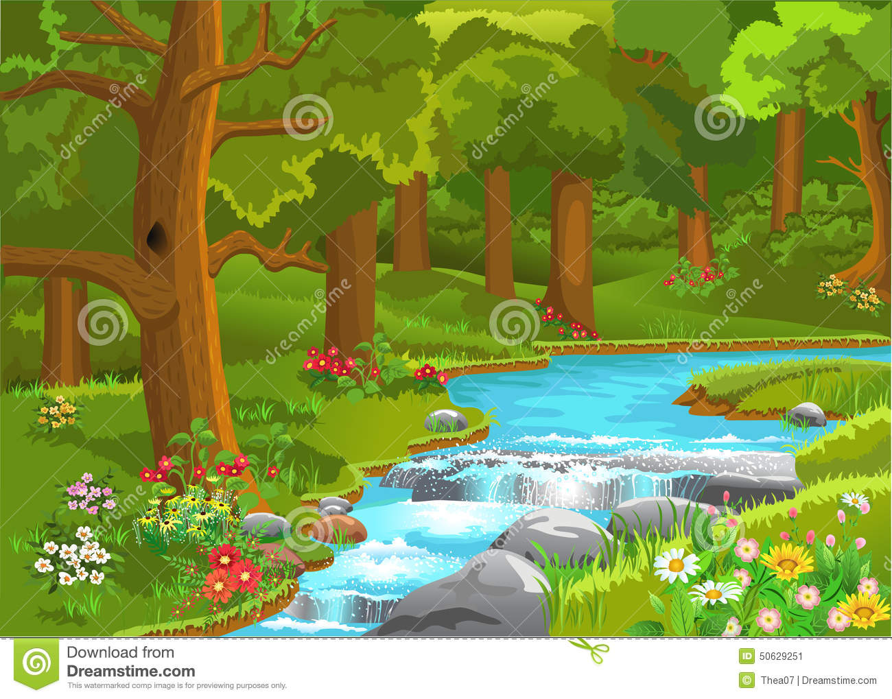 Landscape Illustration Vector Free: Stream Flowing Through The Forest Stock Vector