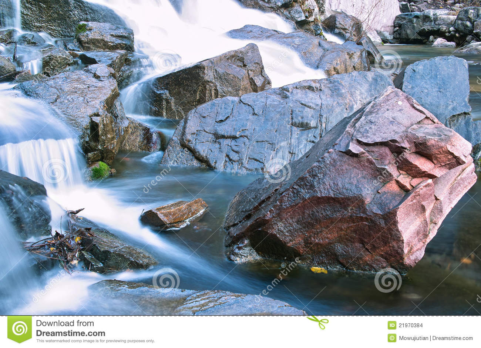 Stream rushing over boulders