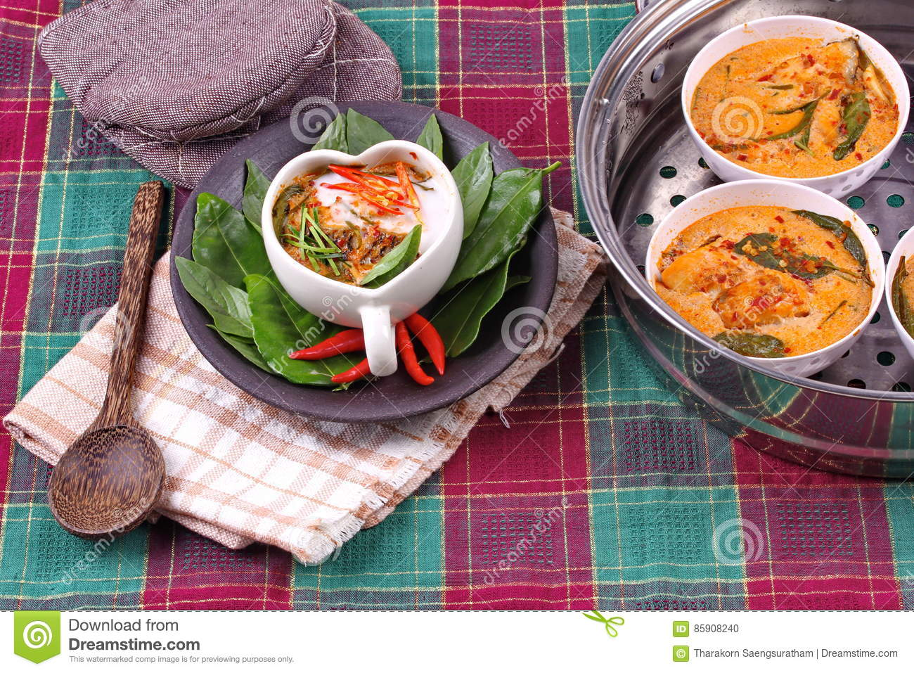 Streamed Fish Curry In Heart Shaped Cup Stock Photo