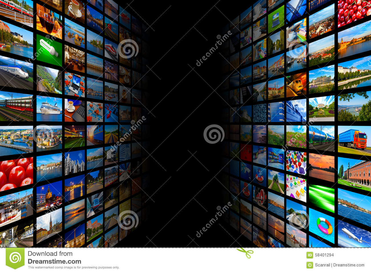 streaming media technology and multimedia concept stock