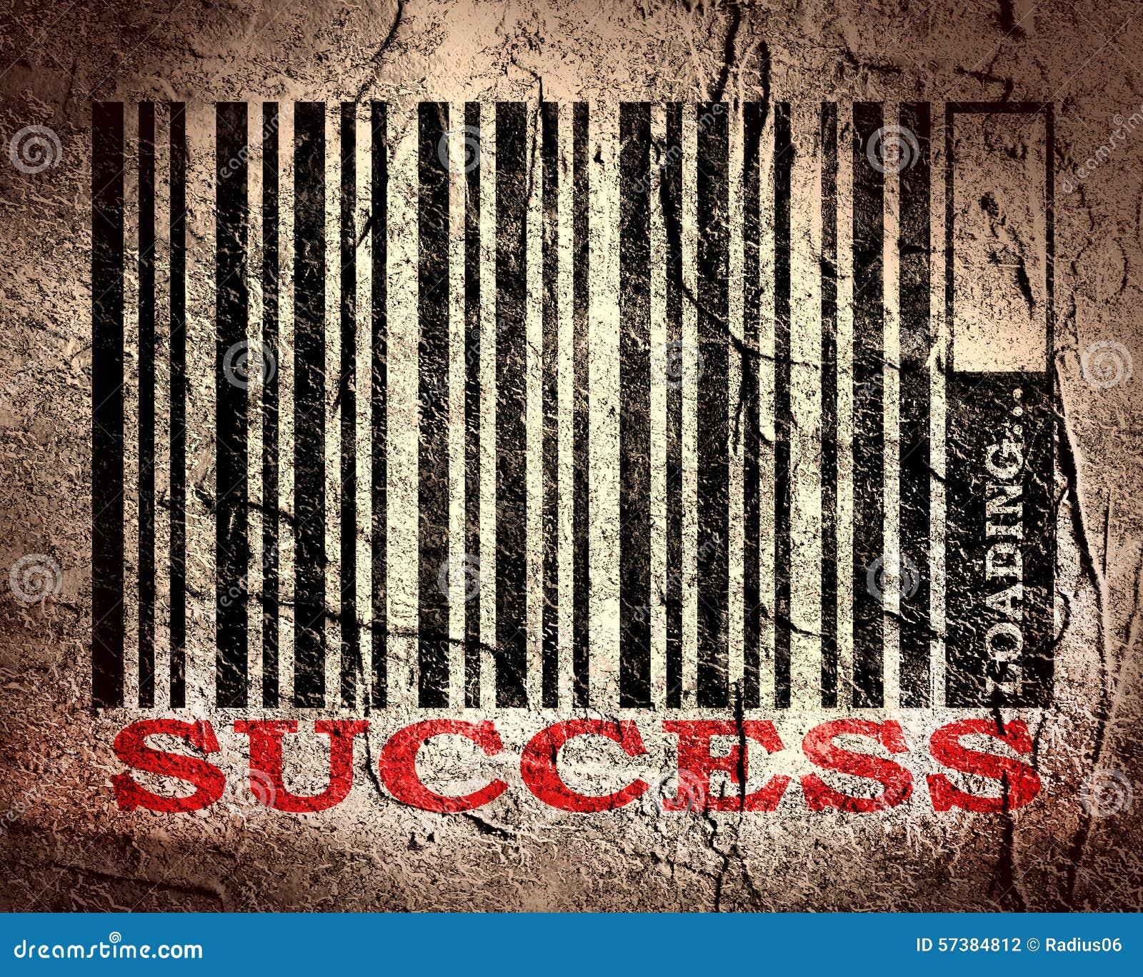 Streepjescode met succestekst en ladingsbar