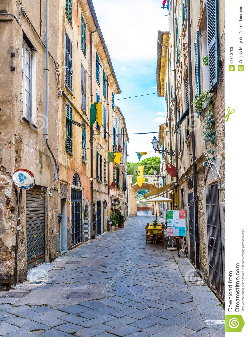 street of albenga albenga savona liguria italy editorial stock photo image 61810788. Black Bedroom Furniture Sets. Home Design Ideas