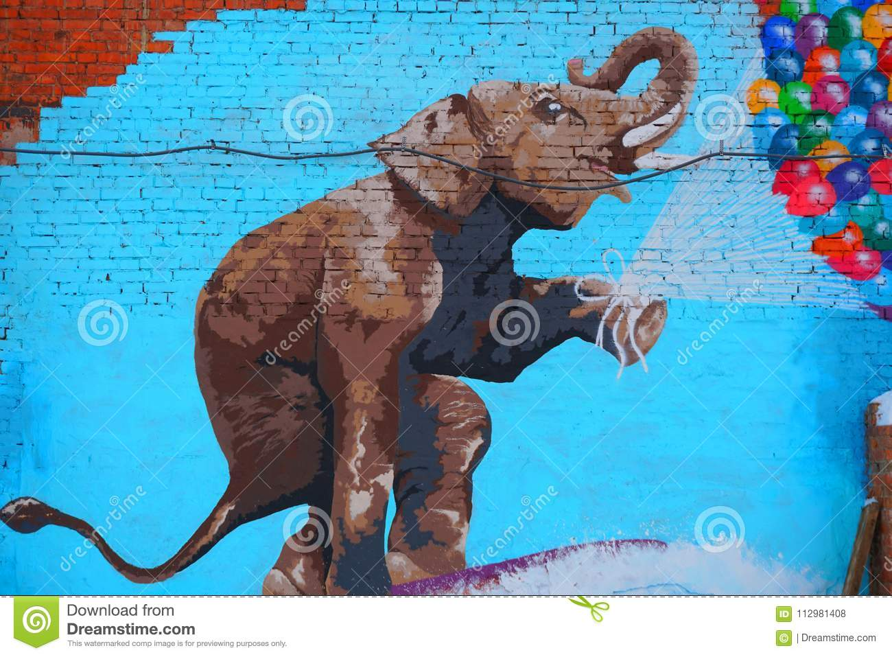 Street art of the elephant.