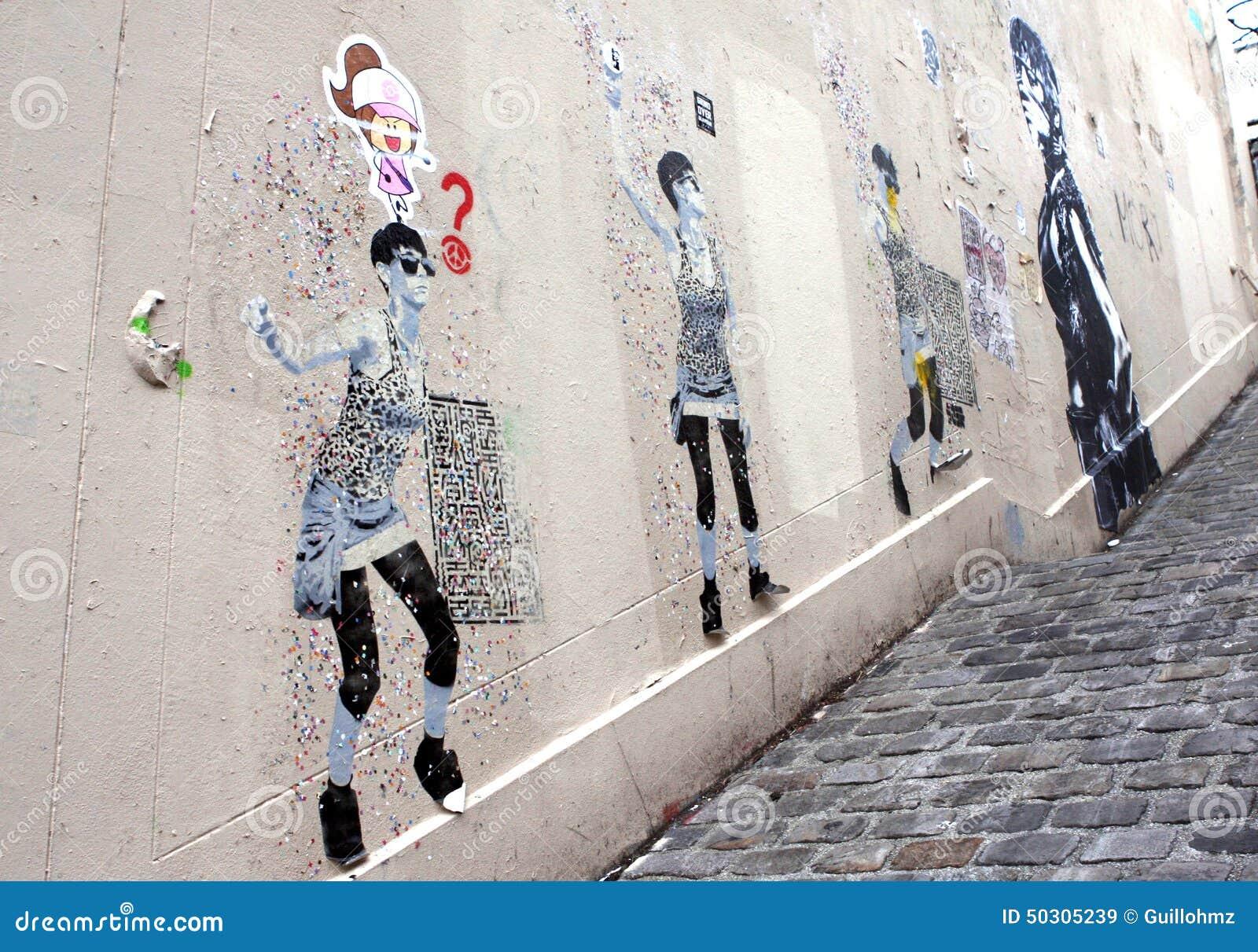 Street Art Graffiti Paris Editorial Stock Image Image