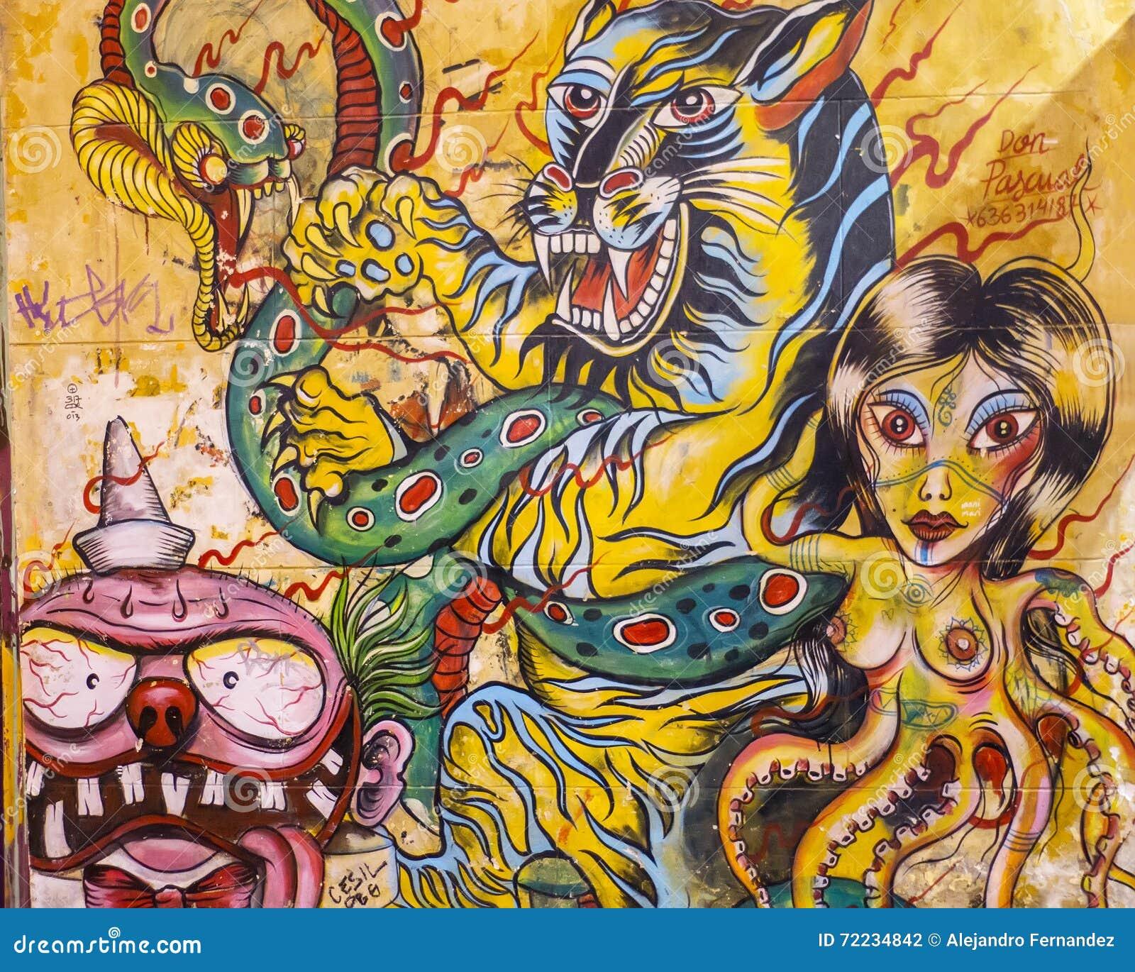 Street Art Graffiti At A Wall In Madrid Editorial Photography ...
