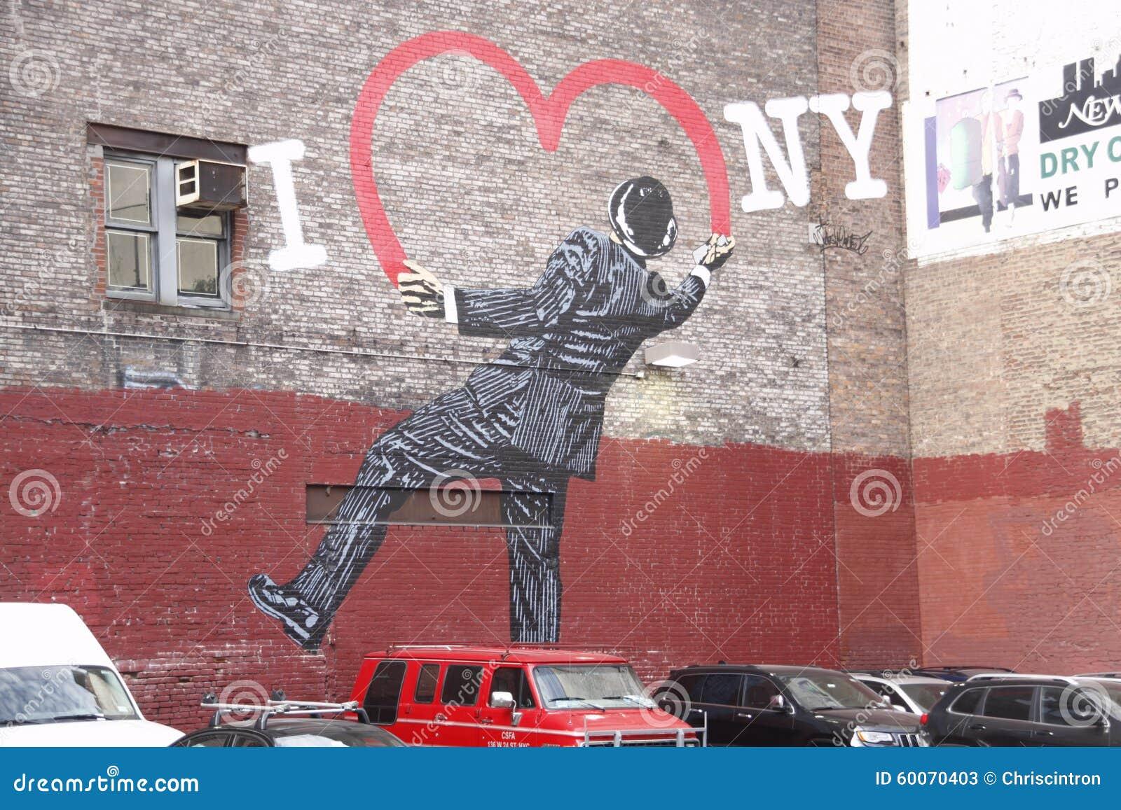 street art i heart new york editorial stock photo image. Black Bedroom Furniture Sets. Home Design Ideas