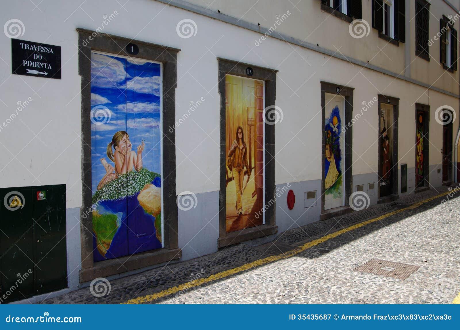 Street art - open door art - doors Royalty Free Stock Photography & Doors with street art editorial image. Image of portuguese - 68135220