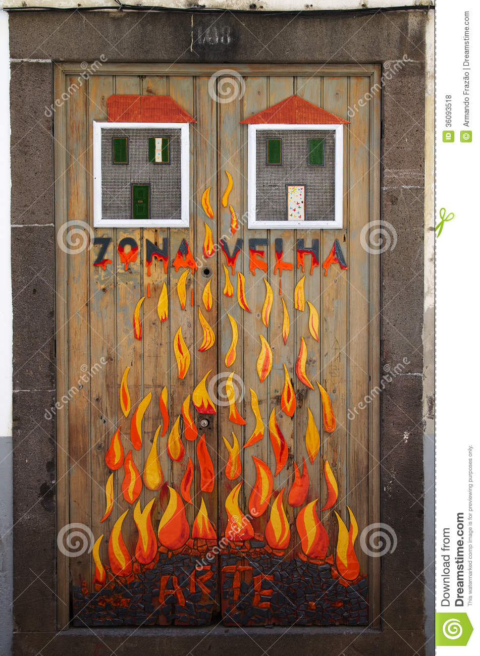 Street art - open door art - fire flames & Street Art - Open Door Art - Fire Flames Editorial Stock Photo ...